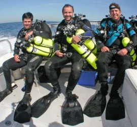 Divers ready with their technical diving equipment
